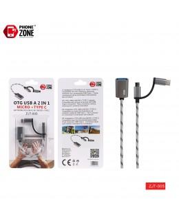ADATTATORE OTG USB A 2 IN 1 MICRO + TYPE-C GRIGIO ADATTATORI 1,71€