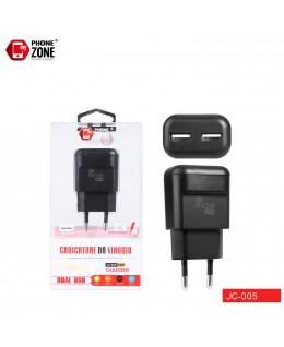 CARICATORE DA VIAGGIO 2 USB NERO JC-005 CARICATORE 3,42€