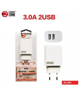 CARICATORE DA VIAGGIO 2 USB BIANCO JC-201 CARICATORE 4,03€