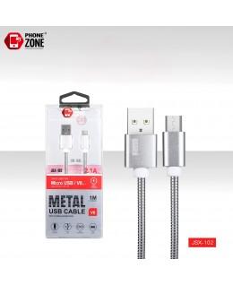 CAVO USB PER MICRO METAL ARGENTO MICRO/V8 2,26€