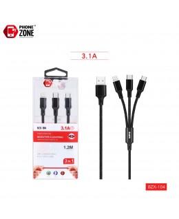 CAVO USB PER MICRO/TYPE-C/IOS NERO 3IN1 2,14€