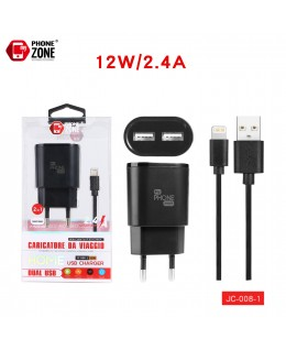 CARICATORE DA VIAGGIO 2 USB CON CAVO IOS NERO JC-008-1 PER IOS 3,54€