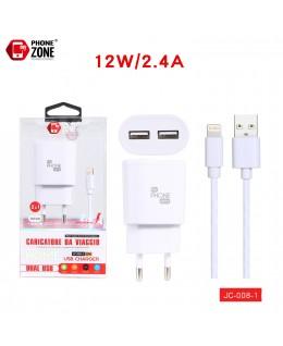 CARICATORE DA VIAGGIO 2 USB CON CAVO IOS BIANCO JC-008-1 PER IOS 3,54€