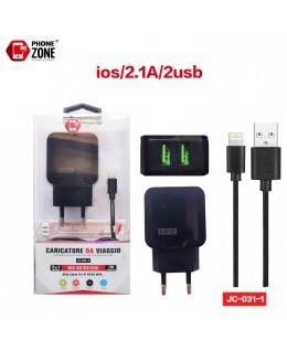 CARICATORE DA VIAGGIO 2 USB CON CAVO IOS NERO JC-031-1 PER IOS 2,62€