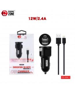 CARICATORE DA AUTO 2 USB CON CAVO IOS NERO DA AUTO 2,68€