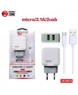 CARICATORE DA VIAGGIO 2 USB CON CAVO MICRO BIANCO JC-031-2 PER MICRO 2,38€