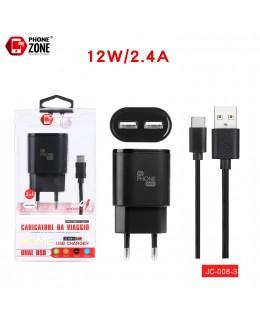 CARICATORE DA VIAGGIO 2 USB CON CAVO TYPE-C NERO JC-008-3 PER TYPE-C 3,54€