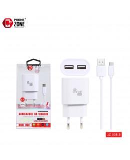 CARICATORE DA VIAGGIO 2 USB CON CAVO TYPE-C BIANCO JC-008-3 PER TYPE-C 3,54€