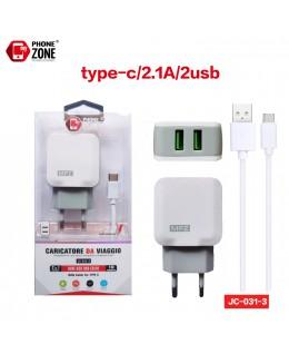 CARICATORE DA VIAGGIO 2 USB CON CAVO TYPE-C BIANCO JC-031-3 PER TYPE-C 2,62€