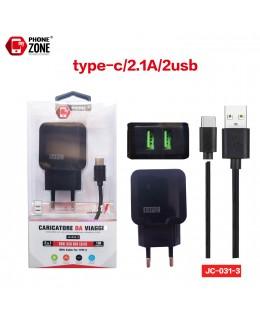 CARICATORE DA VIAGGIO 2 USB CON CAVO TYPE-C NERO JC-031-3 PER TYPE-C 2,62€