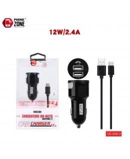 CARICATORE DA AUTO 2 USB CON CAVO TYPE-C NERO DA AUTO 2,68€